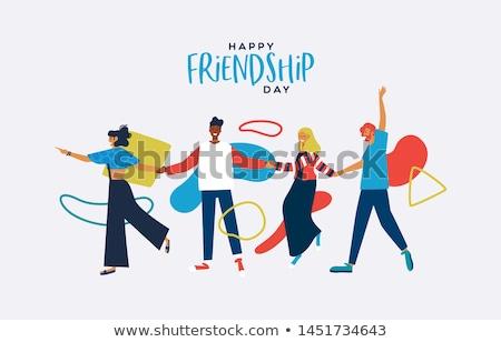 友情 日 カード 多様 人 手 ストックフォト © cienpies