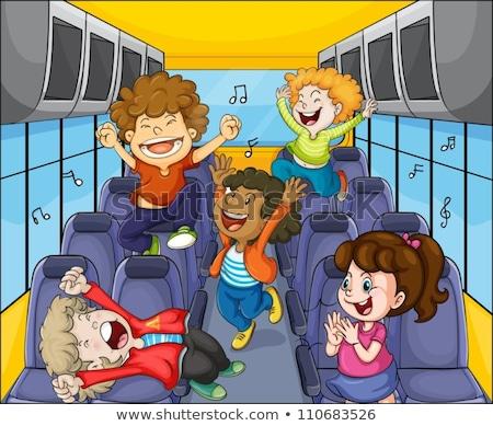子供 学生 歌う スクールバス 実例 学生 ストックフォト © lenm