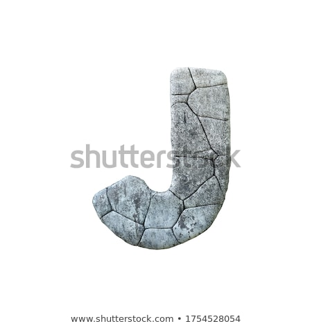 Concrete fracture font Letter J 3D Stock photo © djmilic