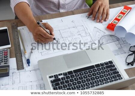 Laptop-Computer technischen Zeichnung Skizze Stil Illustration Stock foto © patrimonio