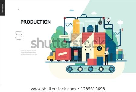 Iş süreç otomasyon iniş sayfa şablon Stok fotoğraf © RAStudio