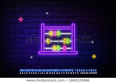 Boulier enseigne au néon affaires promotion argent lumière Photo stock © Anna_leni