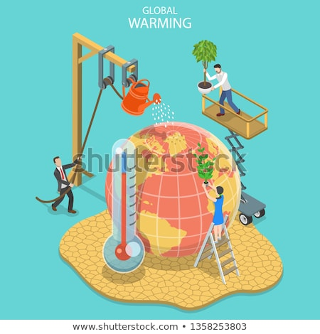 Global warming with thermometer in dry land Stock photo © bluering