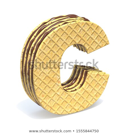 Сток-фото: Waffles Font With Chocolate Cream Filling Letter C 3d