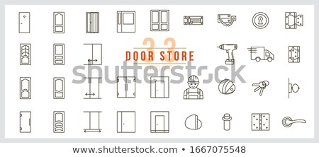 sliding Glass Door With Handle And Hinges Vector Stock photo © pikepicture