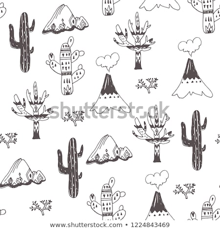 Cartoon cute doodles hand drawn Native American seamless pattern. Stock photo © balabolka