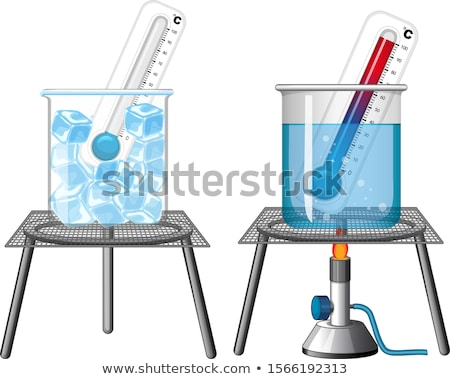 Science experiment with thermometers in ice and hot water Stock photo © bluering