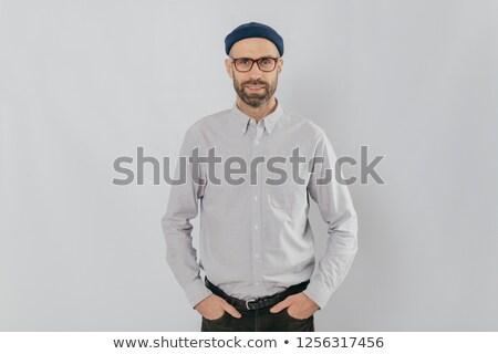 Tiro satisfeito caucasiano homem óculos Foto stock © vkstudio