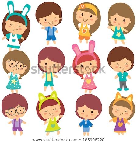 Kawaii Wielkanoc clipart zestaw cute Easter Eggs Zdjęcia stock © ayelet_keshet