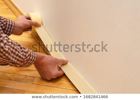 Citromsárga szalag védelmez falak Stock fotó © Kotenko