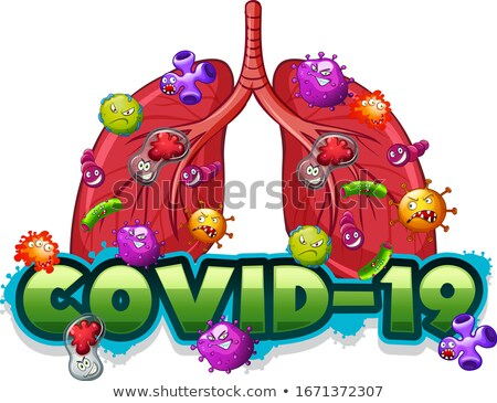 Covid 19 sign template with human lungs full of viruses Stock photo © bluering
