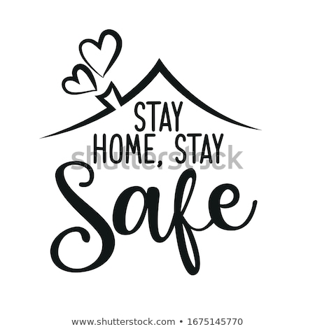 stay at home text with house symbol design Stock photo © SArts