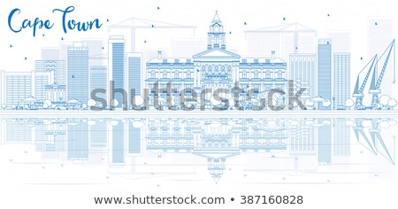 Outline Cape town skyline with blue buildings and reflection.  Stock photo © ShustrikS