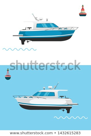 Collection of fishing boats side view isolated on white background. Commercial fishing trawlers for  Stock photo © designer_things