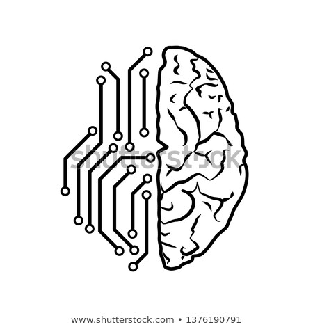 Human brain with electronic chip traces on left hemisphere, artificial intellect concept on white Stock photo © evgeny89