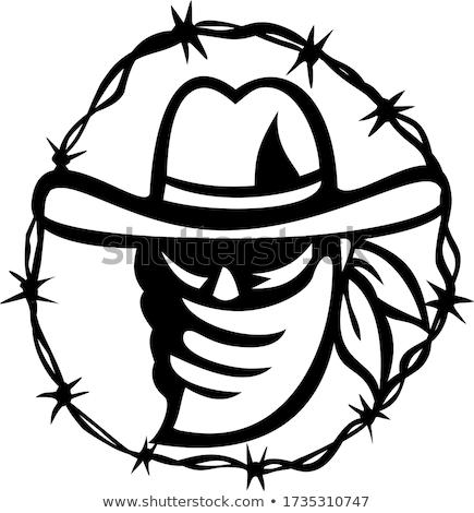 лице маске колючую проволоку кольца талисман Сток-фото © patrimonio