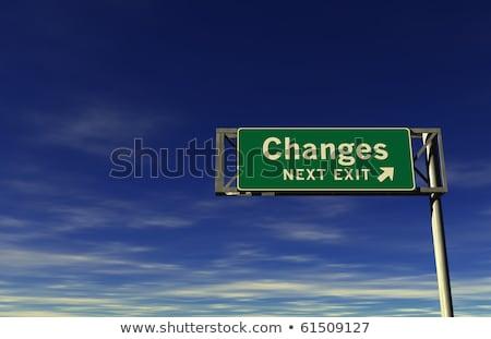 Apró autópálya tábla magas döntés grafikus felhő Stock fotó © kbuntu