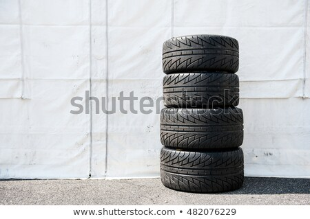tire pile in a racing circuit stock photo © imaster