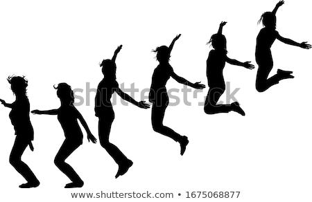 saltando · brilhante · quadro · feliz · mulher - foto stock © dolgachov