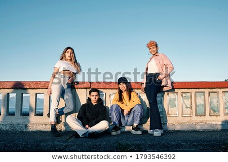 group of young persons pose on footbridge Stock photo © Paha_L