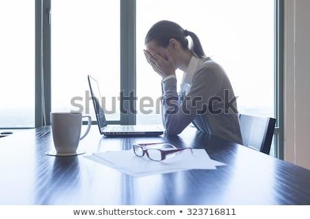 młodych · piękna · kobieta · depresji · odizolowany · biały · włosy - zdjęcia stock © smithore