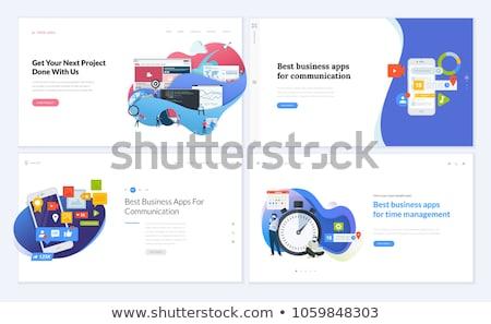 Интернет иконы набор один шестнадцать синий Сток-фото © fenton