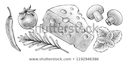 Stock photo: Woodcut mushrooms