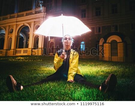 csinos · nő · vihar · lámpás · vonzó · nő · ahogy · lefelé - stock fotó © rcarner