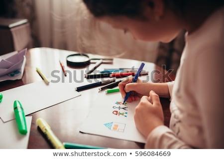 Criança desenho papel amarelo caneta Foto stock © Arrxxx