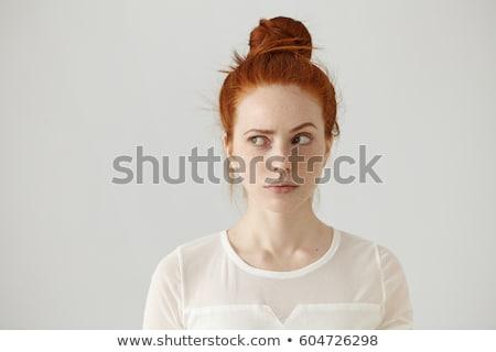 aantrekkelijk · jonge · vrouw · denken · geïsoleerd · witte - stockfoto © dacasdo