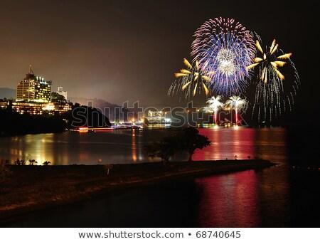 Foto stock: Roxo · fogos · de · artifício · oceano · belo · escuro