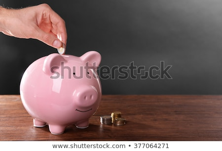 saving male hand putting a coin into piggy bank stock photo © cozyta