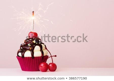 ストックフォト: 歳の誕生日 · 桜 · 食品 · 火災 · ケーキ