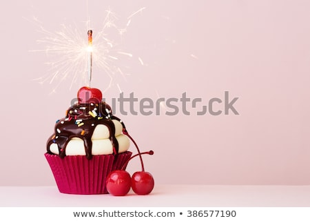 birthday cupcake with cherry stock photo © adamson