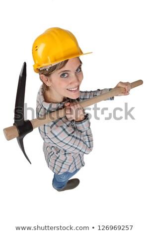 High-angle shot of a tradeswoman carrying a pickaxe Stock photo © photography33