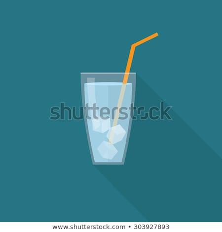 uno · cubo · de · hielo · agua · alimentos · luz · vidrio - foto stock © karandaev
