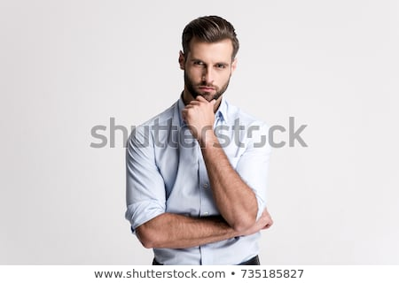 Hombre guapo marrón camisa rastrojo mirando Foto stock © 808isgreat