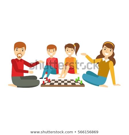 xadrez · família · estratégia · gelo · em · pé - foto stock © photography33