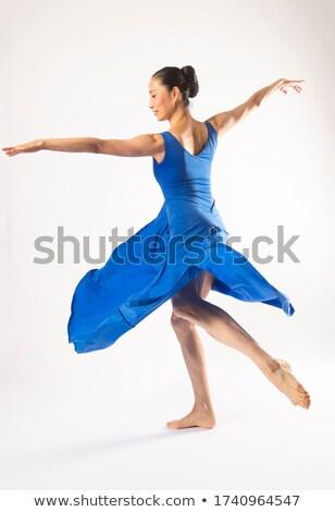 Bella a piedi nudi donna lungo blu abito Foto d'archivio © Pilgrimego