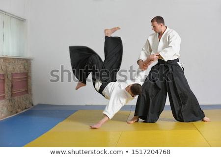Aikido genç adam savaşçı gün batımı ışık Stok fotoğraf © zittto