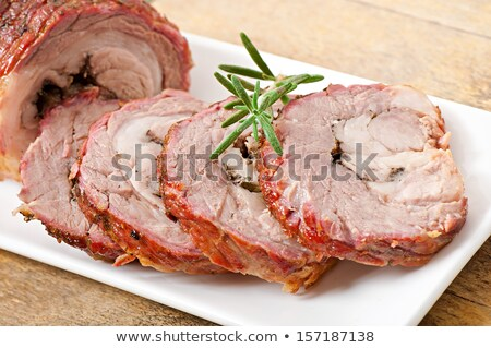 veal roll filled with minced beef meat and herbs Stock photo © phbcz