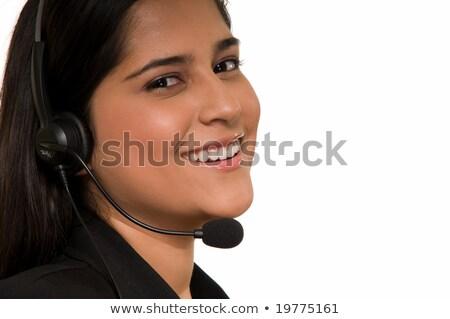 Brunette receptionist hoofdtelefoon telefoon werknemer Stockfoto © photography33