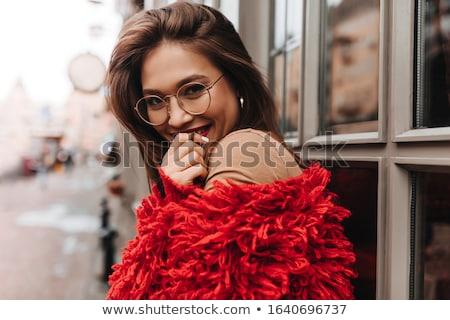 Mooie vrouw donker haar bruine ogen portret geïsoleerd handen Stockfoto © acidgrey