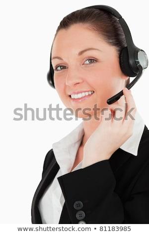müşteri · hizmetleri · işçi · kulaklık · güzel · kız · oturma - stok fotoğraf © wavebreak_media