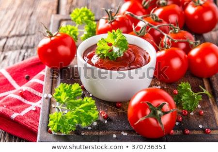 Tomatensaus ketchup voedsel diner Rood kers Stockfoto © M-studio