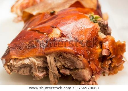 свинья небольшой семьи празднования фермы Сток-фото © jonnysek