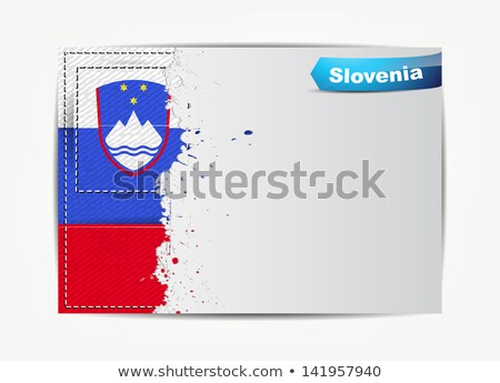 Stitched Slovenia flag with grunge paper frame for your text.  Stock photo © maxmitzu