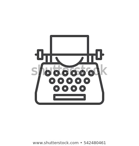 máquina · de · escrever · ícone · cor · projeto · tecnologia · teclado - foto stock © zzve