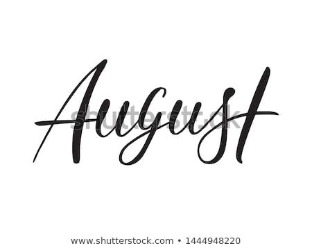 Agosto tipografia stile retrò sole etichetta legno Foto d'archivio © maxmitzu