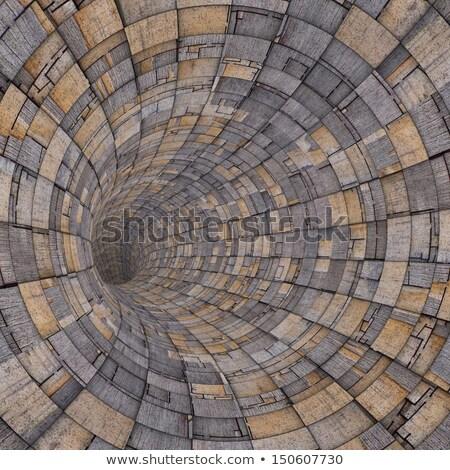 3D hout hout tegel techno tunnel Stockfoto © Melvin07